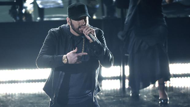 Eminem made a surprise appearance on Sunday night (Chris Pizzello/AP)