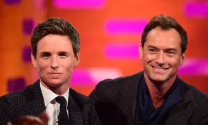 Eddie Redmayne and Jude Law (right) during the filming of the Graham Norton Show (Ian West/PA)