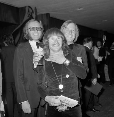 The Goodies (left to right) Graeme Garden, Bill Oddie and Tim Brooke-Taylor at The Sun TV Awards at Hilton Hotel, London (PA Archive)