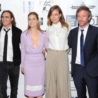 Spike Jonze poses with cast members from Her in New York