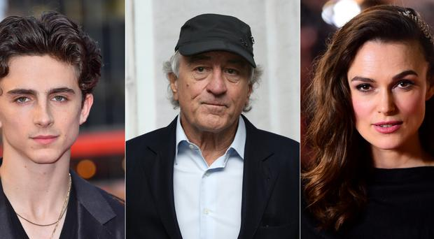 Timothee Chalamet (l to r), Robert De Niro and Keira Knightley are among the stars who will premiere their new movies (PA)