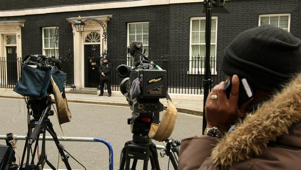 Members of the broadcast media outside Downing Street (Dominic Lipinski/PA)