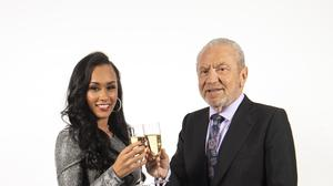 Sian Gabbidon, celebrates with Lord Sugar (Victoria Jones/PA)