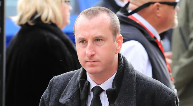 Andy Whyment arriving at Salford Cathedral for the funeral service of Coronation Street actress Liz Dawn.