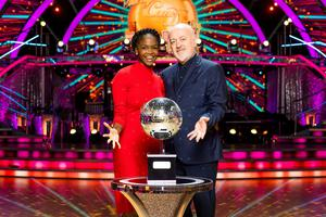 WARNING: Embargoed for publication until 00:00:01 on 19/12/2020 – Programme Name: Strictly Come Dancing – TX: 19/12/2020 – Episode: Live show 9 FINAL (No. n/a) – Picture Shows: Oti Mabuse, Bill Bailey – (C) BBC – Photographer: Guy Levy