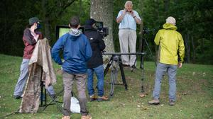 Sir David Attenborough and the BBC Studios Natural History Unit on location for the first time since March filming for The Green Planet at Pashley Manor Gardens, in Ticehurst, East Sussex (Suzanne Plunkett/BBC/PA)