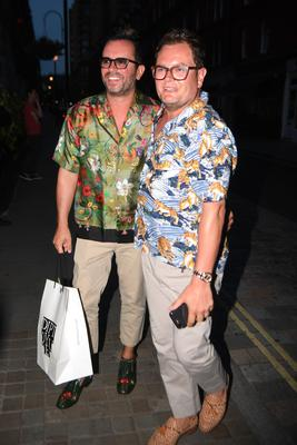 Alan Carr and partner Paul Drayton celebrate Kylie Minogue's 50th birthday (Victoria Jones/PA)