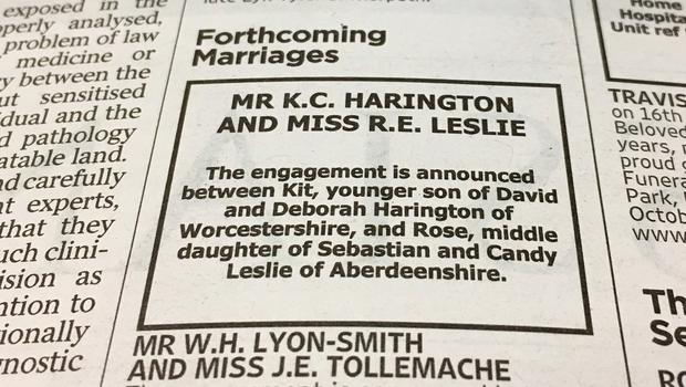 The announcement in The Times newspaper of the engagement between Game Of Thrones stars Kit Harington and Rose Leslie (PA Wire)