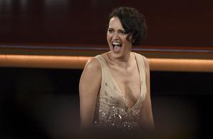 Phoebe Waller-Bridge reacts in the audience before appearing on stage to accept the award for outstanding lead actress in a comedy series for Fleabag (Chris Pizzello/Invision/AP)