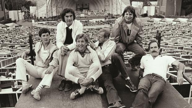 Michael Palin, Terry Jones, Eric Idle, Graham Chapman, Terry Gilliam and John Cleese at the Hollywood Bowl (Python (Monty) Pictures Ltd)