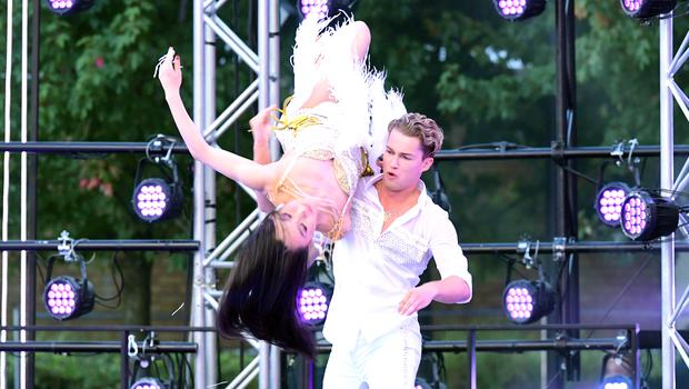 AJ Pritchard and fellow professional dancer Nancy Xu dance at the launch (Ian West/PA)
