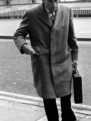 The real life Jeremy Thorpe pictured leaving the Old Bailey (PA)