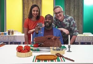 Melvin Odoom (centre) joins Lego Masters with Roma Agrawal and Matthew Aston (Channel 4/PA)