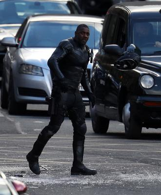 Idris Elba during filming in Glasgow city centre (Andrew Milligan/PA)