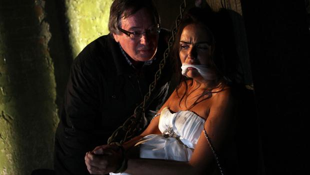 Silas, played by Jeff Rawle, after he kidnapped heavily pregnant Mercedes Fisher, played by Jennifer Metcalfe, on her wedding day (Channel Four)