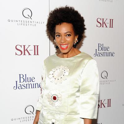 Singer Solange Knowles shows off her pins at the NY screening