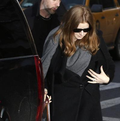 Amy Adams arrives at a wake for actor Philip Seymour Hoffman in New York. (AP)