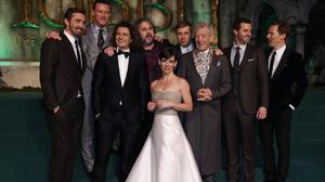Cast members (left to right) Lee Pace, Luke Evans, Orlando Bloom, director Peter Jackson, Evangeline Lilly, Martin Freeman, Sir Ian McKellen, Richard Armitage, and Benedict Cumberbatch on the green carpet for the premiere of The Hobbit: Battle of the Five Armies, at the Odeon Leicester Square in central London.