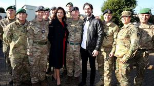 Catherine Zeta-Jones and Blake Harrison attend a special preview screening of the new Dad's Army film at Chicksands military base in Bedfordshire