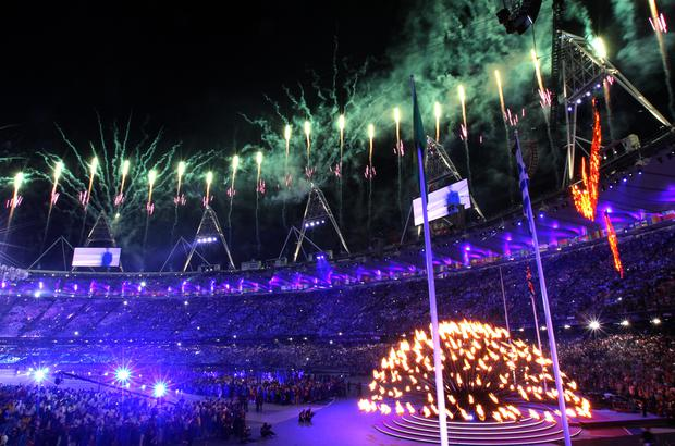 Fireworks go off during the closing ceremony of the London 2012 Olympics (Andrew Milligan/PA)