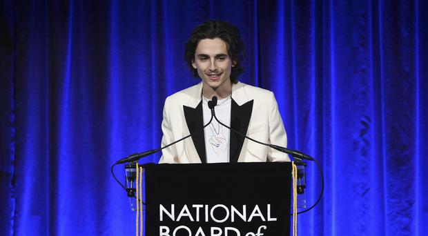 Timothee Chalamet at the National Board of Review Awards gala (Evan Agostini/Invision/AP)