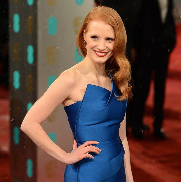 Jessica Chastain arriving for the 2013 British Academy Film Awards at the Royal Opera House, Bow Street, London. PRESS ASSOCIATION Photo. Picture date: Sunday February 10, 2013. See PA story SHOWBIZ Baftas. Photo credit should read: Dominic Lipinski/PA Wire