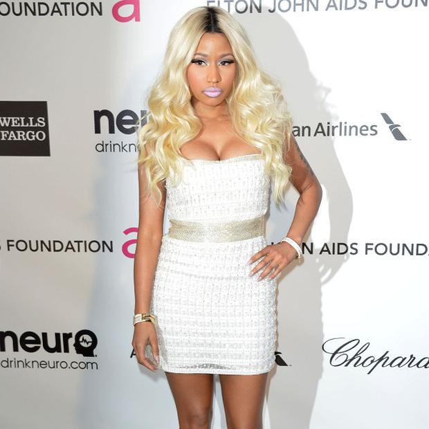 Nicki Minaj arriving for 2013 Elton John AIDS Foundation Oscar Party held at West Hollywood Park in West Hollywood, Los Angeles. PRESS ASSOCIATION Photo. Picture date: Sunday February 24, 2013. Photo credit should read: Tony DiMaio/PA Wire