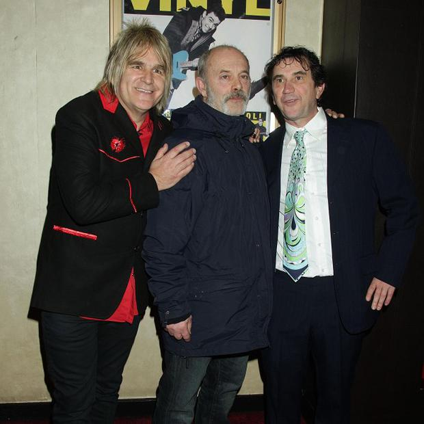 Mike Peters, Keith Allen and Phil Daniels arriving for the gala screening of Vinyl