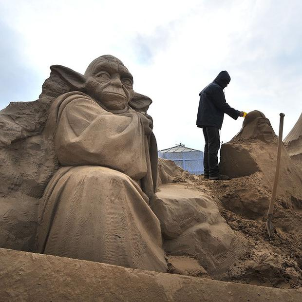 Star Wars favourite Yoda has been sculpted from sand in Weston-Super-Mare