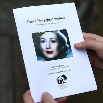 The order of service at the memorial for actress Dinah Sheridan