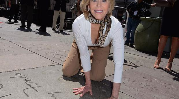 Jane Fonda was honoured at a hand and footprint ceremony in Hollywood