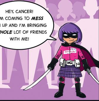 Hit-Girl joins the fight against cancer