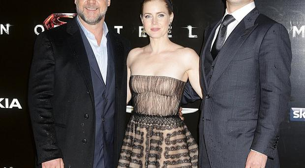 Russell Crowe, Amy Adams and Henry Cavill arriving for the European premiere of Man of Steel