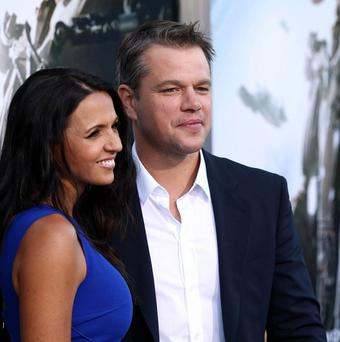 Matt Damon and wife Luciana at the world premiere of Elysium