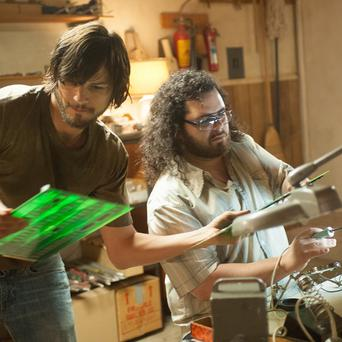 Ashton Kutcher as Steve Jobs and Josh Gad as Steve Wozniak in a scene from Jobs