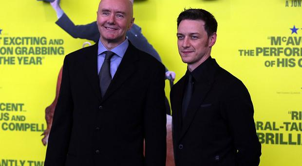 Author Irvine Welsh and actor James McAvoy attend the Glasgow premiere of the new movie Filth