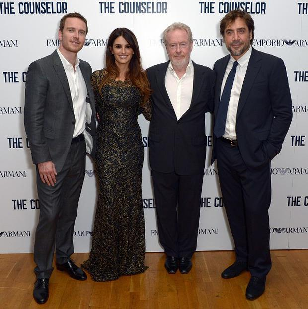 Ridley Scott poses with his his star cast from The Counsellor