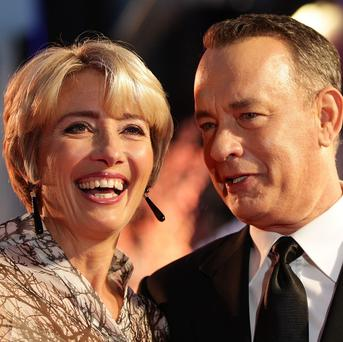 Emma Thompson and Tom Hanks at the gala screening of Saving Mr Banks, the closing film of the 57th BFI London Film Festival at Odeon Leicester Square, London.