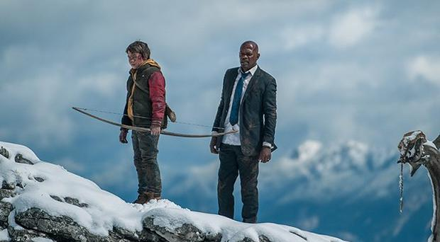 Samuel L Jackson and Onni Tommila in a scene from Big Game