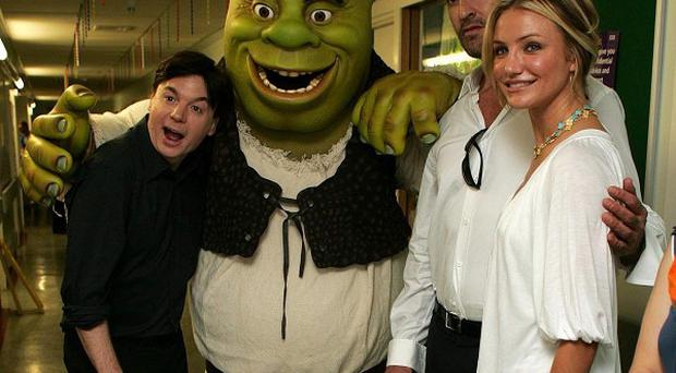 Mike Myers, Rupert Everett and Cameron Diaz voice characters in Shrek