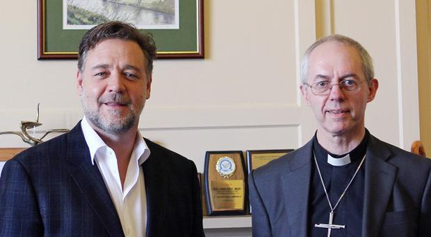 The Archbishop of Canterbury Justin Welby as he met with actor Russell Crowe at Lambeth