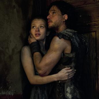 Emily Browning and Kit Harington star as lovers in Pompeii