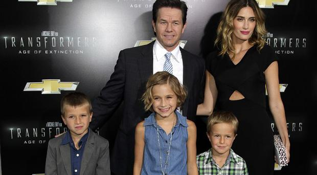Mark Wahlberg with wife Rhea Durham and three of their children at the New York premiere of Transformers: Age Of Extinction