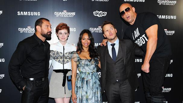 David Bautista, Karen Gillan, Zoe Saldana, Chris Pratt and Vin Diesel star in Guardians Of The Galaxy