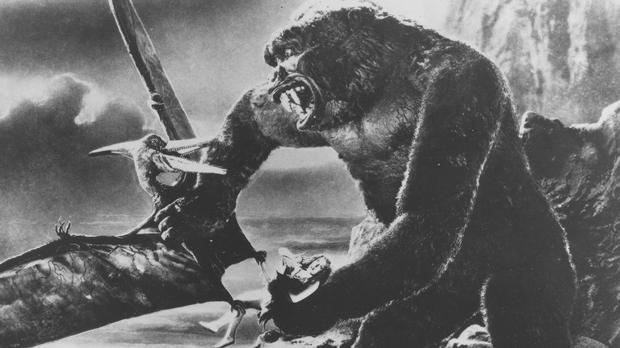 King Kong battles a prehistoric pteradactyl while holding actress Fay Wray captive in a scene from the 1933 film
