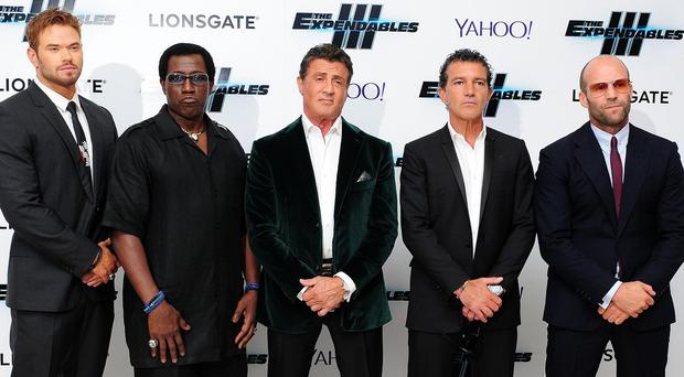 Kellan Lutz, Wesley Snipes, Sylvester Stallone, Antonio Banderas and Jason Statham at the premiere of Expendables III