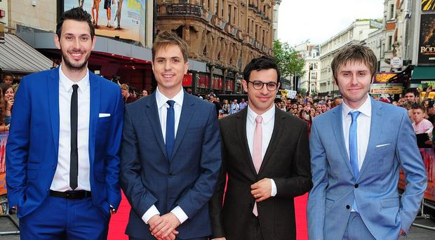 Blake Harrison, Joe Thomas, Simon Bird and James Buckley attending the premiere of The Inbetweeners 2