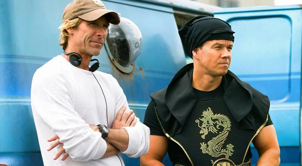 Michael Bay and Mark Wahlberg on the set of Pain And Gain