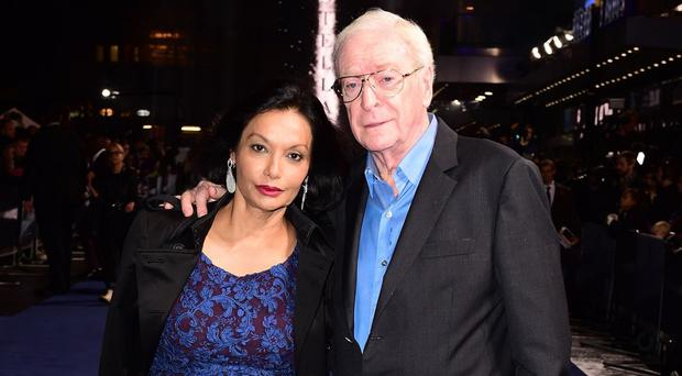 Sir Michael Caine and his wife Shakira at the Odeon Leicester Square where he chose his stage name