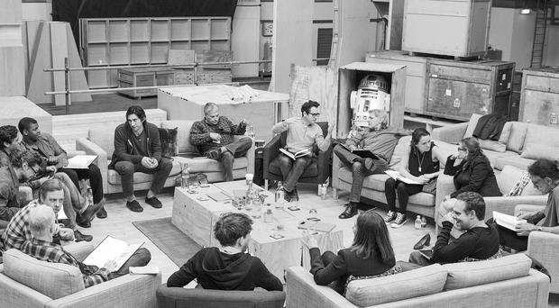 The cast of the seventh Star Wars film The Force Awakens